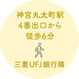神宮丸太町駅4番出口から徒歩6分。三菱UFJ銀行隣。